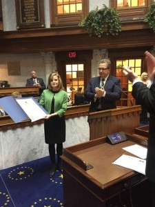 Amanda Banks, director of public relations at Grace College, was honored by the Indiana Senate on Wednesday with the Sagamore of the Wabash Award.