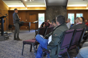 Clancy Cruise closes the retreat with devotions on Wednesday morning.